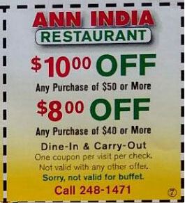 Ann Indian Restaurant Coupons
